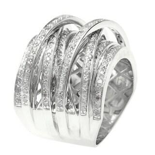 Beverly Hills Charm 14k Gold Overlay 1ct TDW Diamond Crossover Ring