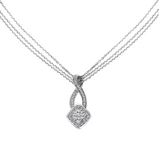 Cambridge Sterling Silver 1/2ct TDW Diamond Station Multi-strand Necklace