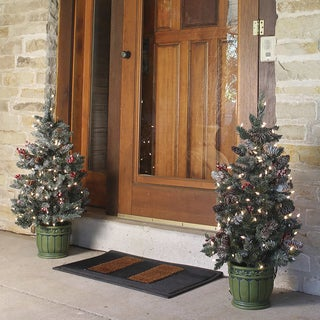 Pre-lit Potted 3-foot Porch Tree