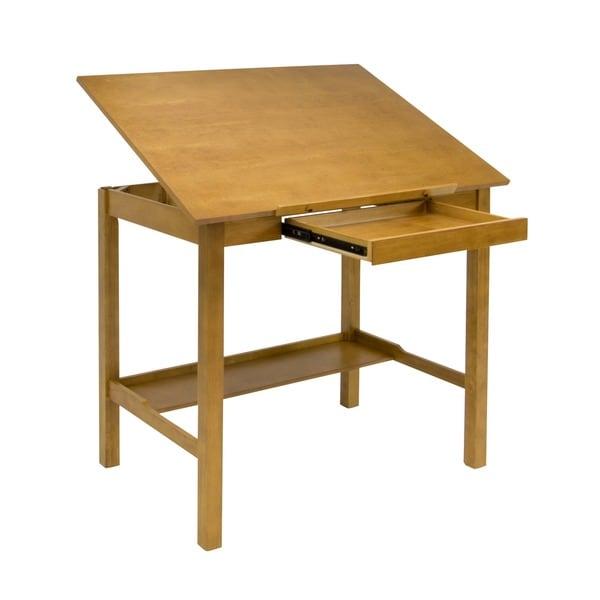 Studio designs americana ii light oak 42 inch wide drafting table 15675805 - Drafting table designs ...