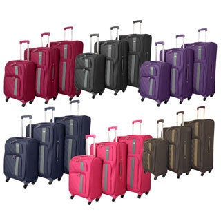 World Traveler Featherlite 3-piece Super Lightweight Spinner Upright Luggage Set