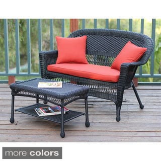 Black Wicker Loveseat and Coffee Table Set