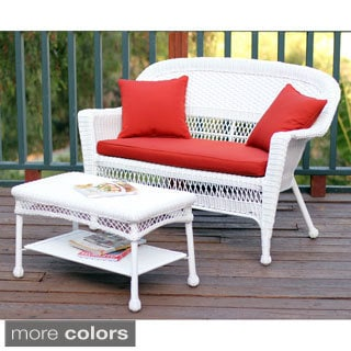 White Wicker Loveseat and Coffee Table Outdoor Patio Set