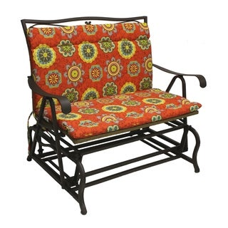 Blazing Needles Outdoor Double Glider/ Bench Seat/ Back Cushion