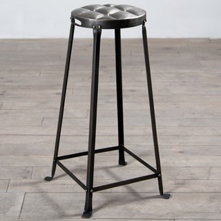 30-Inch Antique Nickel Metal Tufted Top Bar Stool (India)
