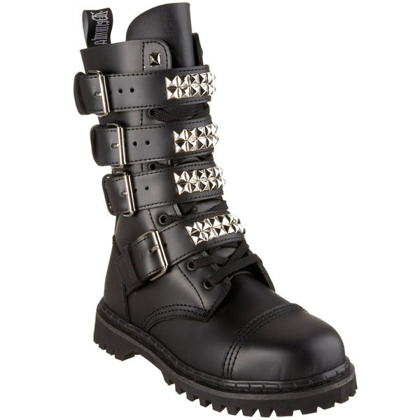 Demonia Men's 'Gravel-10S' 10-Eyelet Buckle Straps Mid-calf Boots