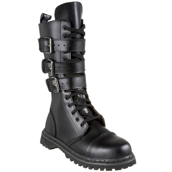 Demonia Men's 'Gravel-14' Black Leather Buckle Straps Mid-calf Boots