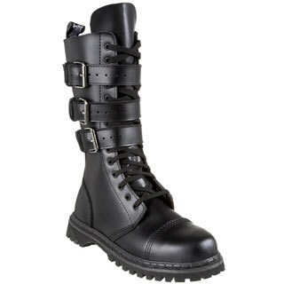 Demonia Men's 'Gravel-14' Black Leather Buckle Straps Mid-calf Boots