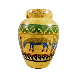 7-inch Multicolored Hand-painted and Embossed Clay Mexican Horse Vase (Mexico)