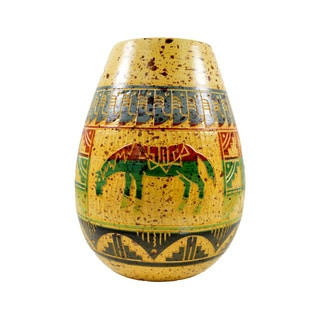 7-inch Colorful Hand-painted and Embossed Clay Mexican Horse Vase (Mexico)