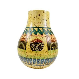 Colorful Hand-painted and Embossed Mexican Vase (Mexico)