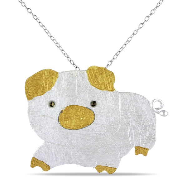 M by Miadora Two-tone Silver Marcasite Pig Necklace