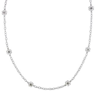 Miadora Sterling Silver 1ct TDW Black and White Diamond 32-Inch Station Necklace