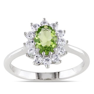 Miadora Sterling Silver Peridot and Created White Sapphire Ring