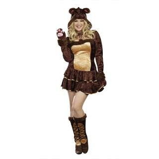 Dream Girl Women's Plus Size 5-piece Bear Velvet Dress Costume