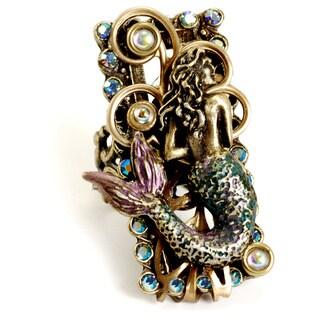 Sweet Romance Bronzetone Crystal Floating Mermaid Ring