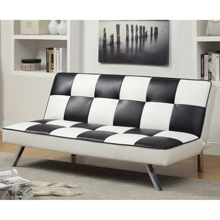 Aprentis Modern Retro Black/ White Checker Leatherette Futon