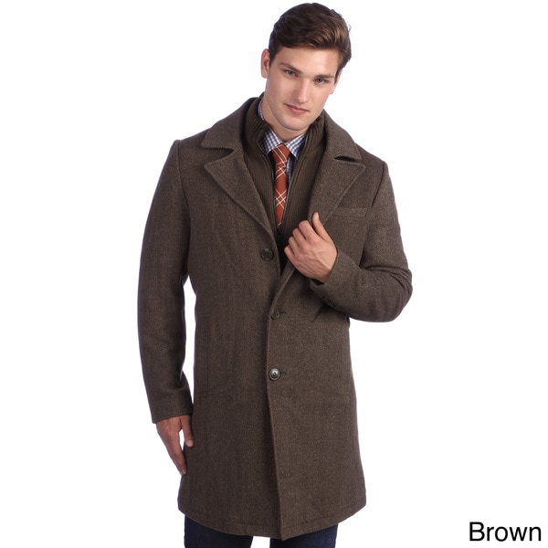 Kenneth Cole Men's Twill Wool Walker Coat