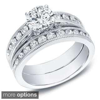Auriya 14k White or Yellow Gold 2ct TDW Certified Diamond Bridal Set (G-H, SI1-SI2) (EGL USA)