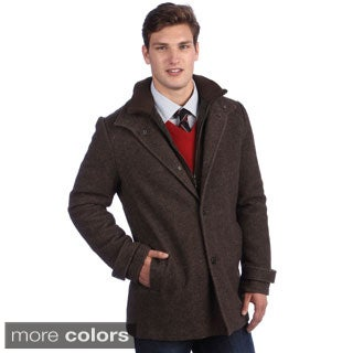Kenneth Cole Men's Twill Wool Car Coat