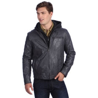 Kenneth Cole Men's Hooded Faux Leather Jacket