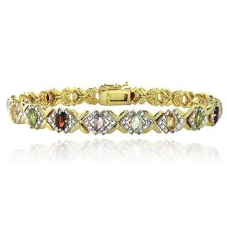 Glitzy Rocks Goldtone Multi-Gemstone And Diamond Accent Bracelet