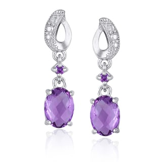 Glitzy Rocks Sterling Silver Amethyst and Diamond Dangle Earrings (I-J, I1-I2)