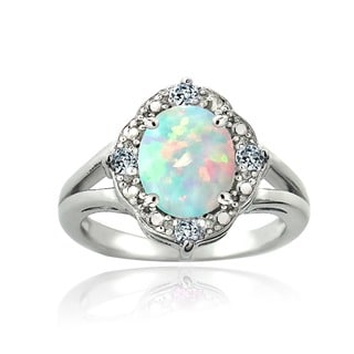 Glitzy Rocks Sterling Silver Opal, Light Blue Topaz and Diamond 1 1/4 carat TGW Ring (I-J, I2-I3)