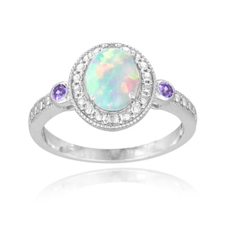 Glitzy Rocks Sterling Silver Opal, Amethyst and Diamond Oval Ring (I-J, I2-I3) 7/8 carat TGW
