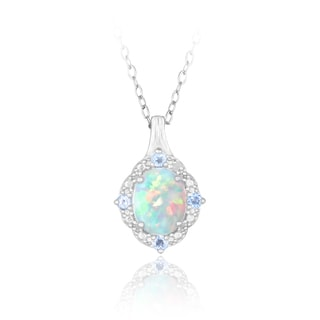 Glitzy Rocks Sterling Silver Opal, Blue Topaz and Diamond Necklace (I-J, I2-I3) 1 1/4 carat TGW