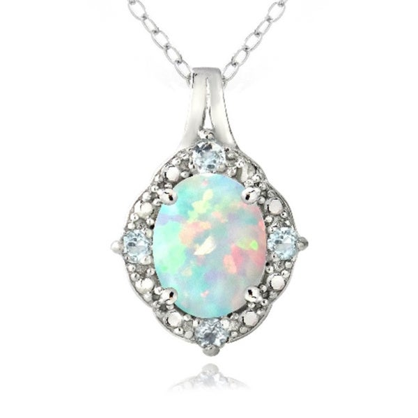 Glitzy Rocks Sterling Silver Diamond Accent Created White Opal and Blue Topaz Oval Necklace