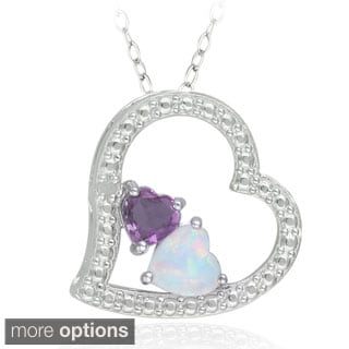 Glitzy Rocks Sterling Silver Multi-gemstone and Diamond Heart Necklace (I-J, I2-I3)