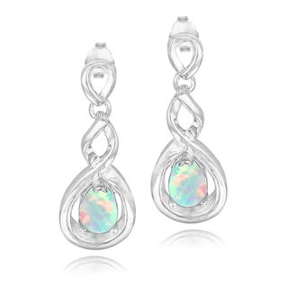 Glitzy Rocks Sterling Silver Created Opal Twist Dangle Earrings