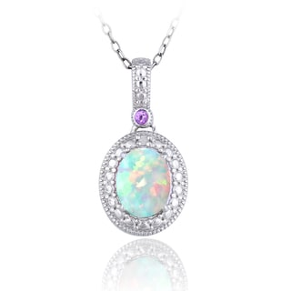 Glitzy Rocks Sterling Silver Opal, Amethyst and Diamond Oval Necklace (I-J, I2-I3) 3/4carat TGW