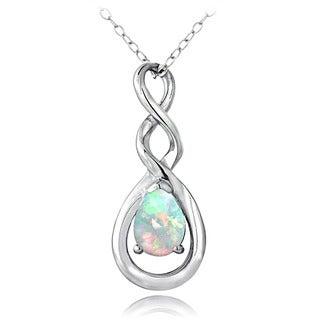 Glitzy Rocks Sterling Created Opal Twist Teardrop Necklace