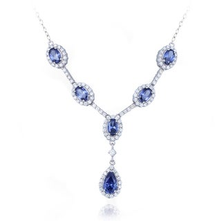 Icz Stonez Sterling Silver Blue and White Cubic Zirconia Necklace
