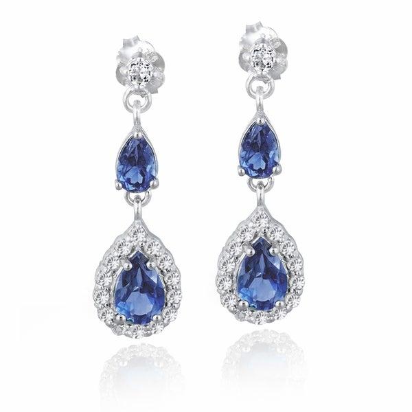 Icz Stonez Sterling Silver Blue and White Cubic Zirconia Teardrop Earrings