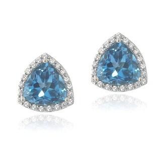 Glitzy Rocks Sterling Silver London Blue Topaz and Cubic Zirconia Trillion Stud Earrings