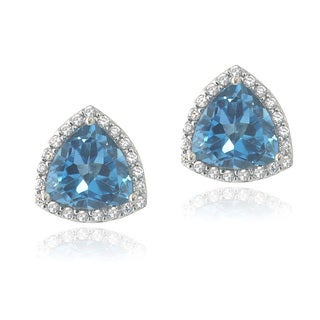 Glitzy Rocks Sterling Silver London Blue Topaz and Cubic Zirconia Trillion Stud Earrings
