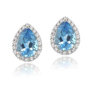 Glitzy Rocks Sterling Silver London Blue Topaz and Cubic Zirconia Teardrop Stud Earrings
