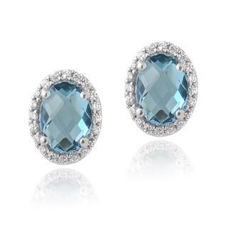 Glitzy Rocks Sterling Silver London Blue Topaz and Cubic Zirconia Oval Stud Earrings