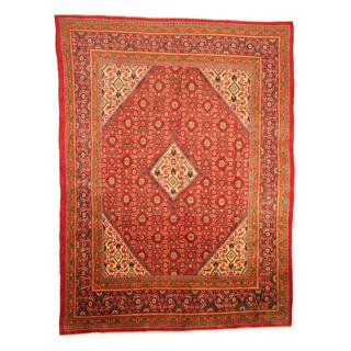 Antique 1960's Persian Hand-knotted Mahal Red/ Navy Wool Rug (9'5 x 12'6)