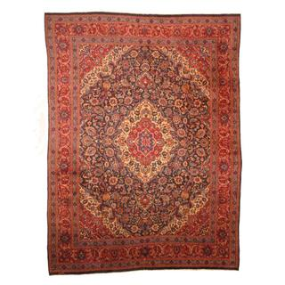 Antique 1960's Persian Hand-knotted Mashad Navy/ Red Wool Rug (9'5 x 12'5)