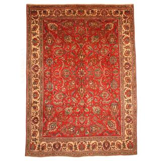 Persian Hand-knotted Tabriz Red/ Ivory Wool Rug (9'2 x 12'9)