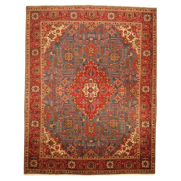 Vintage Persian Bokhara Wool Area Rug 10 X 13: Antique 1960's Persian Hand-knotted Tabriz Turquoise/ Red