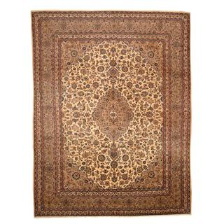 Antique 1960's Persian Hand-knotted Mashad Ivory/ Brown Wool Rug (9'7 x 12'6)