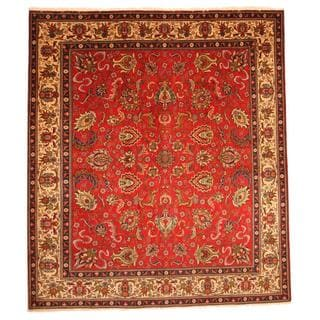 Persian Hand-knotted Tabriz Red/ Ivory Wool Rug (10' x 11'4)