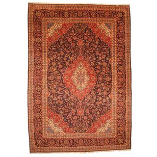 Persian Hand-knotted Kashan Navy/ Red Wool Rug (9'10 x 14'3)