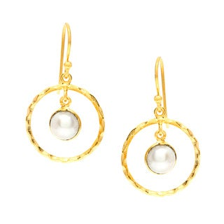 Sitara Handmade Gold-Plated Pearl Hoop Earrings (India)