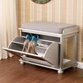 Upton Home York Silver Mirrored Storage Shoe Bench